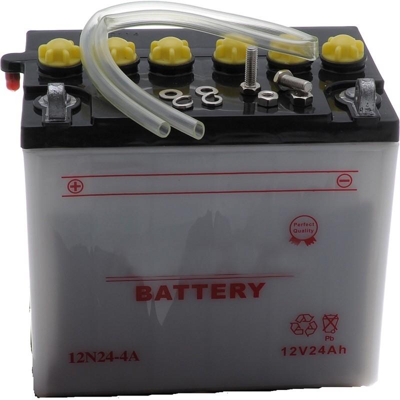 Batterie 12N24-4 A pour tracteur tondeuse autoportée prête à l'emploi